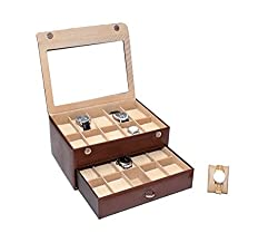 Essart PU Leather watchbox for 20watches with transparent Lid feature-Brown