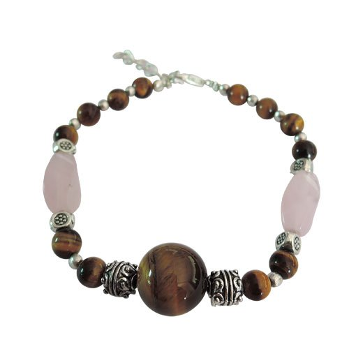 Semi- Precious Gemstone Rose Quartz Designer Bracelet with Silver Tone Base Metal