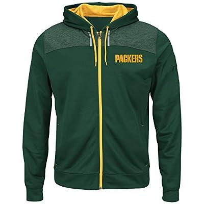 Green Bay Packers Mens Green Game Elite Full Zip Synthetic Poly Hoodie Sweatshirt