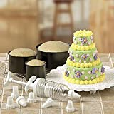 Buy bakeware sets for Cheap bakeware sets 6PC MINI TIERED CAKE PAN SET WITH DECORATING ACCESSORIES TOTAL 14PC SET Electronics bakeware sets