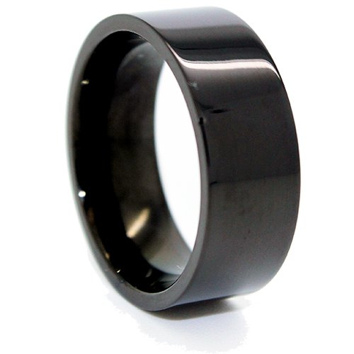 Blue Chip Unlimited - Classic 8mm Black Titanium Flat Pipe Ring Wedding Band Designer Fashion Engagement Ring Size 12