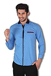 Vertical Men's Blue Printed Slim Fit Casual Shirt