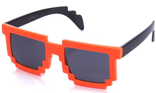 Kyra 8-Bit Nintendo Video Game Colored Frame Party Glasses In Orange