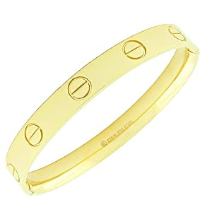 Stainless Steel Yellow Gold Tone Screw Design Womens Handcuff Bracelet