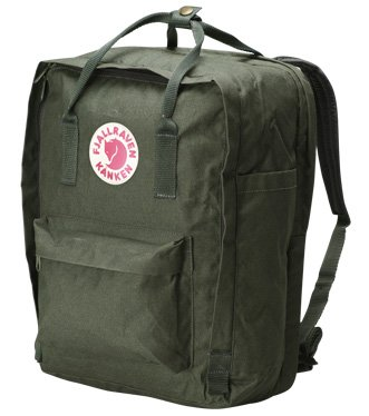 B003NF8CPO Fjallraven Kanken Backpack, Forest Green, 15-Liter