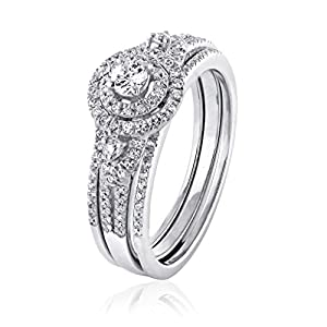 0.52 CT. Natural Diamond Bridal Collection Engagement Ring Wedding Bridal Set 18K White Gold (G-H,I2-I3)