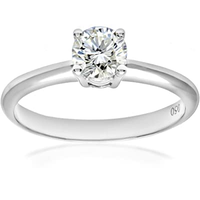 Ariel Platinum Gold 4 Claw Engagement Ring, G/SI2 EGL Certified Diamond, Round Brilliant, 0.50ct