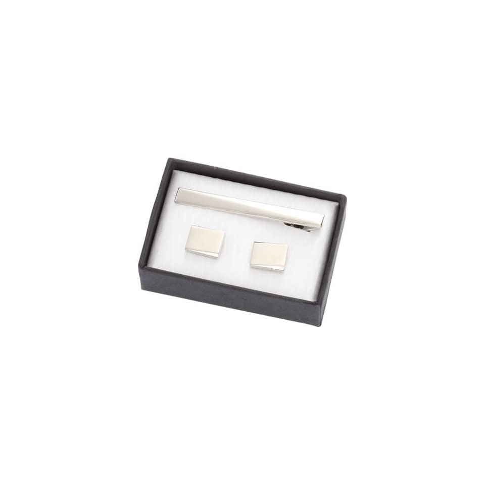 CUT 04 Silver Metal Cufflinks with Matching Tie Clip