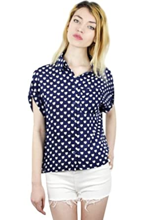 Blue Button Down Women Blouse