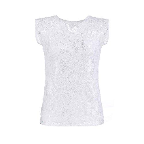 Minetom Donne Sexy Estate Moda Pizzo Maniche Corte Della Camicetta Shirt Top ( Bianco EU S )