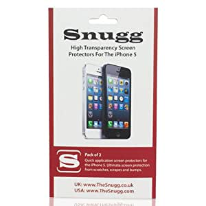 Snugg iPhone 5 / 5S / 5C High Transparency Screen Protectors (pack of 2) - Includes Microfiber Cloth and Anti Bubble Leveler