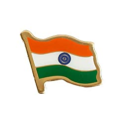 The Flag Shop Indian Flag Brass Laminated Lapel Pin / Brooch / Badge for Clothing Accessories - Large Size