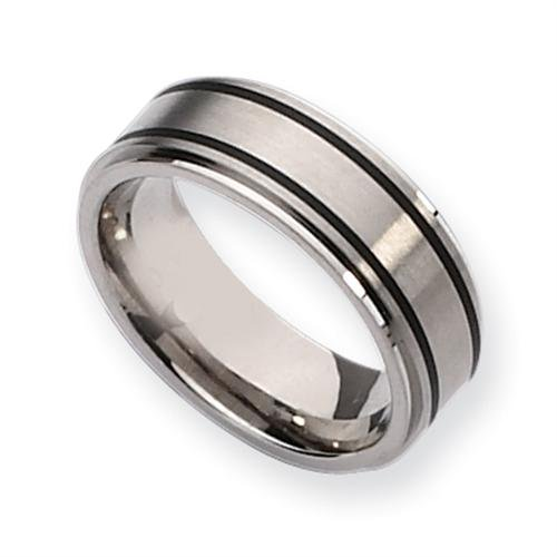 Titanium Black Accent 8mm Brushed and Polished Comfort Fit Wedding Band (Size 9 1/2)