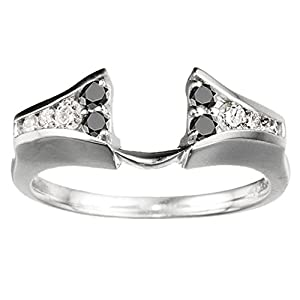0.5 CT Black And White Diamonds (G-H,I2-I3) Chevron Style Ring Wrap in Sterling Silver
