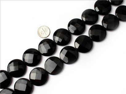 25mm coin faceted gemstone black agate beads strand 15