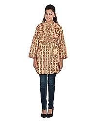Damyantii Plus Size Women's Straight Cotton Off-White Kurti