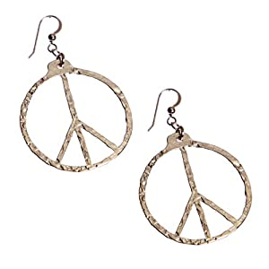 Peace Symbol Hand Hammered Delicate Silver Dipped Earrings on French Hooks