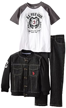 U.S. Polo Assn. Little Boys' Fleece Baseball Jacket T-Shirt and Five Pocket Denim Jean, Black, 7