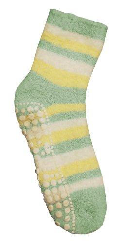 Red Carpet Studios Spa Socks, Banana with Seafoam Green and Cream Stripes