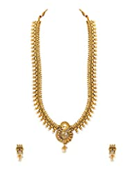 Voylla Gold Plated Bridal Jewellery Set Embellished With CZ And Pearls
