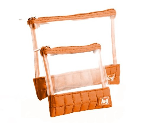 Orange see through cosmetic pouches small make up bags by Lug