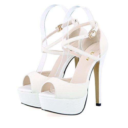 06. ZriEy Womens Peep Toe Strappy Platform Stiletto Ladies High Heel Sandal Shoes