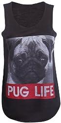 Style Divaa Ladies Printed Pug Life Vest Womens Animal Pug Print Vest tops