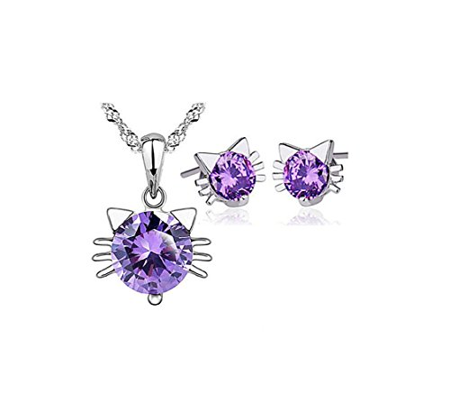 Most Beloved 925 Sterling Silver Purple Cat Pendant Necklace Stud Earring Cubic Zirconia Jewelry Sets