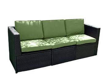 Gartenmöbel 3tlg. Sitzgruppe Poly Rattan Lounge Garten Garnitur Couch grun