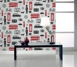 Fresco London Wallpaper - Red from New A-Brend