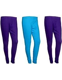 Indistar Women Cotton Legging Comfortable Stylish Churidar Full Length Women Leggings-Purple/Sky Blue-Free Size-Pack...
