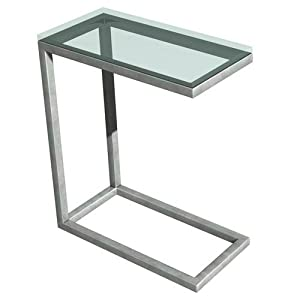"""Soho Snack Table (Stainless / Clear) (24""""H x 10""""W x 20""""D)"""