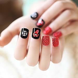 Amazon.com : 24PCS / SET Red Mouth fake nails french false ...