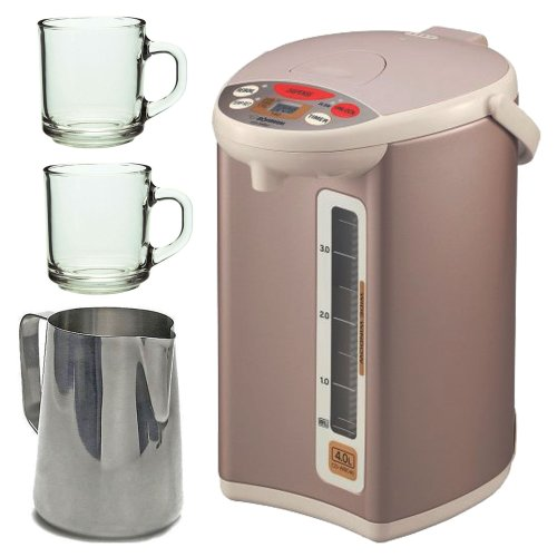Zojirushi Cd-Wbc40 Micom Electric Water Boiler And Warmer, Champagne Gold With 2Pcs 10Oz Handy Glass Coffee Mug And New 20 Oz Espresso Coffee Milk Frothing Pitcher, Stainless Steel