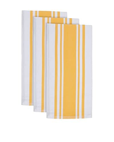 KAF Home Set of 3 Center Band Towels, Yolk