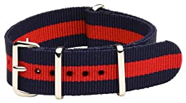 20mm Classic SS Nylon Striped Navy Blue / Red - Easily Interchangeable Replacement Military Watch Band / Strap - Fits All Watches!!!