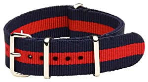 20mm Nato Ss Nylon Striped Navy Blue / Red Interchangeable Replacement Watch Band Strap
