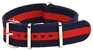 Clockwork Synergy - 20mm Nato Ss Nylon Striped Navy Blue / Red Replacement Watch Band Strap
