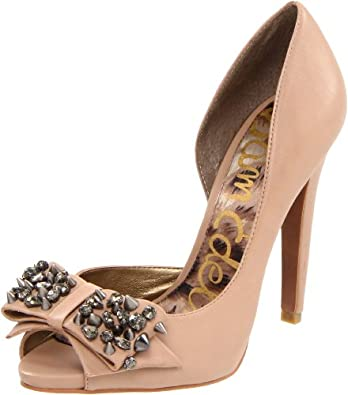 Sam Edelman Women's Lorna Open-Toe Pump,Nude,7.5 M US