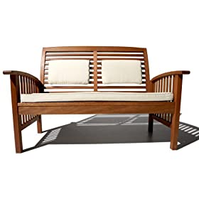 Strathwood Gibranta All-Weather Hardwood 2-Seater Bench with Cushion