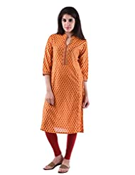 AARR Chanderi Yellow 3/4th Sleeves Kurta For Women