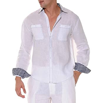 Double pockets lined white linen shirt
