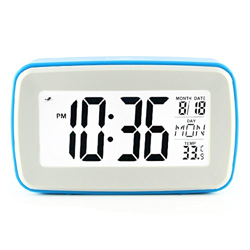 JCC Smart Light Voice Recording Digital Snooze Alarm Clock, Timer with Date and Temperature Display (Blue)
