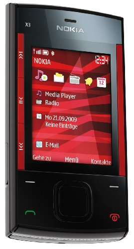 Nokia X3 Handy (Ovi, UKW Radio, 3,2 MP) red black