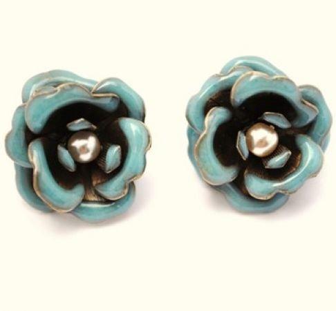 Designer Jewellery - Aquamarine Blue Enamelled & Pearl Rose Stud Statement Earrings