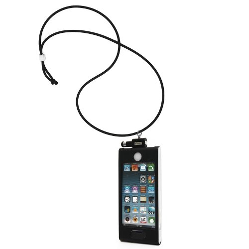 iHangy IHG-ONT-34655 Slip-In 5 Case with Lanyard Necklace and Stylus for iPhone 5 - Retail Packaging - Black/White