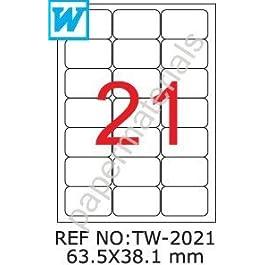 TANEX tW - 2021/étiquettes universelles blanc 63,5 x 38,1 mm -abgerundet- 500 feuilles a4
