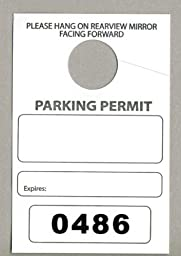 Parking Permit Hang Tags, 3 1/8 X 4 3/4, Numbered 0000-0499, Box of 500