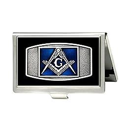 FREEMASON MASONIC Custom Fashion Metal Stainless Steel Pocket Business Name Credit ID Card Case Box Holder by Oskay