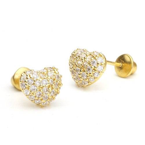 14k-Gold-Plated-Brass-Domed-Heart-Pave-Screwback-Girls-Earrings-with-Sterling-Silver-Post